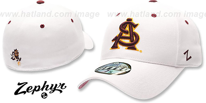Arizona State 'DH' Fitted Hat by Zephyr - White : pictured without stickers that these products are shipped with