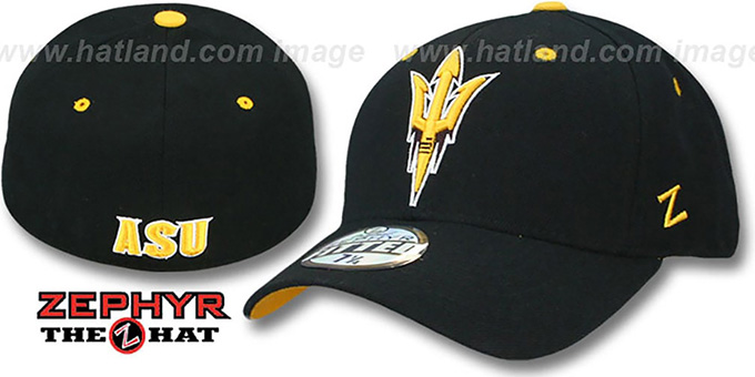 Arizona State 'DHS' Black Fitted Hat by Zephyr : pictured without stickers that these products are shipped with