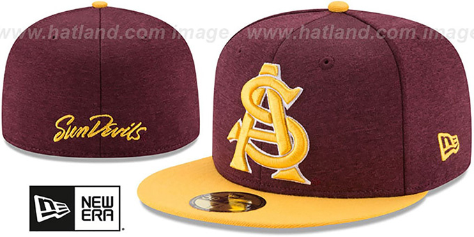 Arizona State 'HEATHER-HUGE' Burgundy-Gold Fitted Hat by New Era : pictured without stickers that these products are shipped with