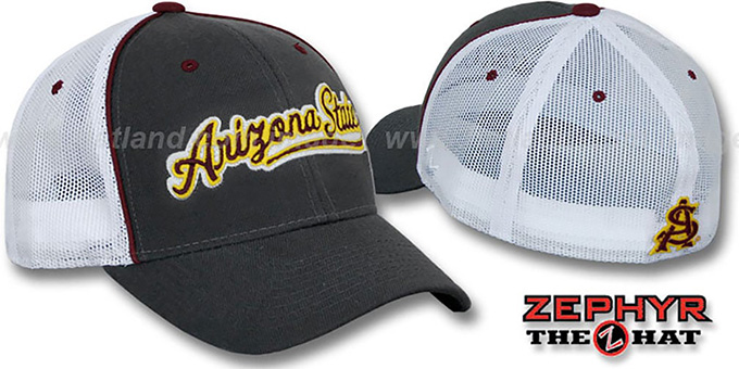 Arizona State 'SCRIPT-MESH' Fitted Hat by Zephyr - grey-white : pictured without stickers that these products are shipped with