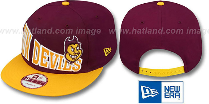 Arizona State 'STOKED SNAPBACK' Burgundy-Gold Hat by New Era : pictured without stickers that these products are shipped with