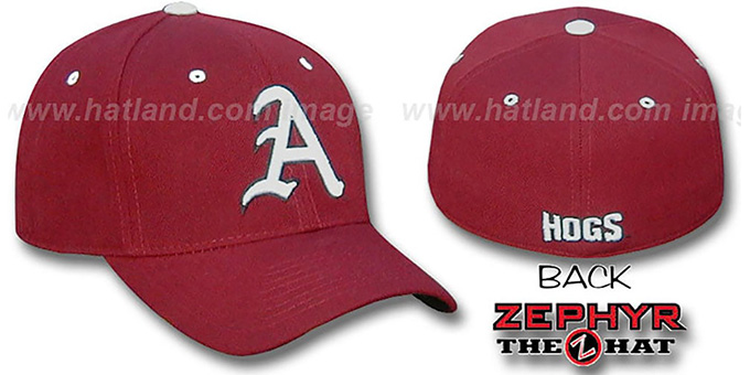 Arkansas 'DH' Fitted Hat by Zephyr - burgundy : pictured without stickers that these products are shipped with