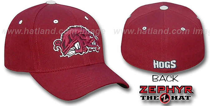 Arkansas MAD HOG 'DHS' Fitted Hat by Zephyr - burgundy : pictured without stickers that these products are shipped with
