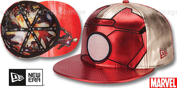 Armor Ironman 'CHARACTER FACE' Red-Gold Fitted Hat by New Era : pictured without stickers that these products are shipped with