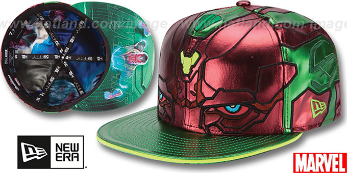 Armor Vision 'CHARACTER FACE' Green-Rust Fitted Hat by New Era : pictured without stickers that these products are shipped with