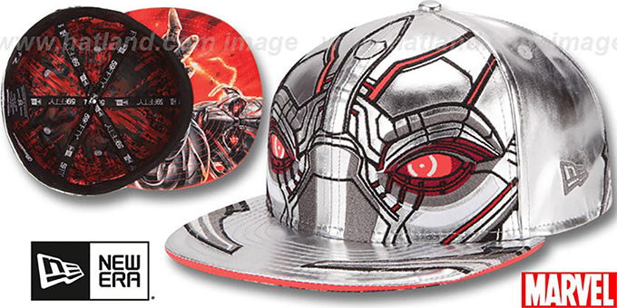 Armor Ultron 'CHARACTER FACE' Silver Fitted Hat by New Era : pictured without stickers that these products are shipped with