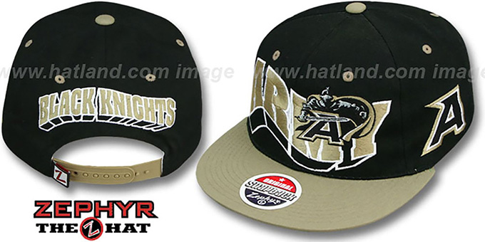 Army '2T FLASHBACK SNAPBACK' Black-Gold Hat by Zephyr : pictured without stickers that these products are shipped with