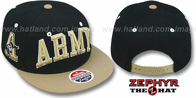 Army '2T SUPER-ARCH SNAPBACK' Black-Gold Hat by Zephyr : pictured without stickers that these products are shipped with