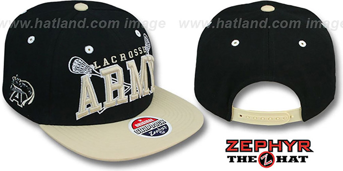 Army 'LACROSSE SUPER-ARCH SNAPBACK' Black-Tan Hat by Zephyr : pictured without stickers that these products are shipped with