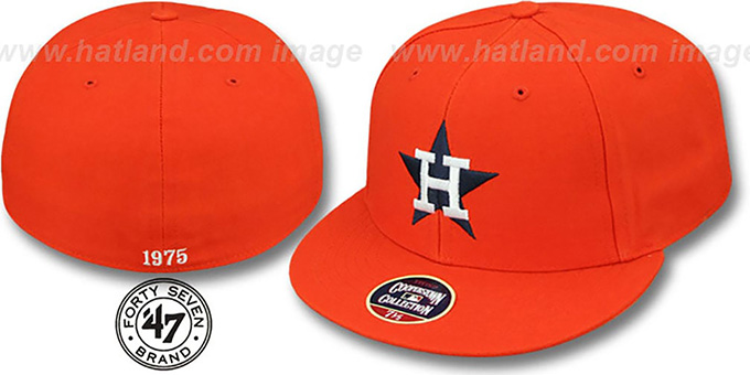 Astros '1975 COOPERSTOWN ' Fitted Hat by Twins 47 Brand : pictured without stickers that these products are shipped with