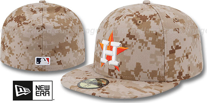 Astros 2013 'STARS N STRIPES' Desert Camo Hat by New Era : pictured without stickers that these products are shipped with
