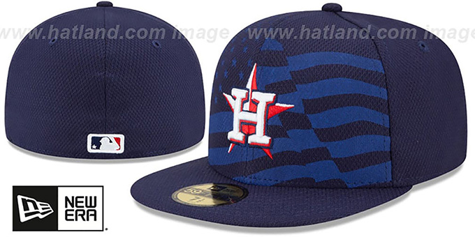 Astros '2015 JULY 4TH STARS N STRIPES' Hat by New Era : pictured without stickers that these products are shipped with