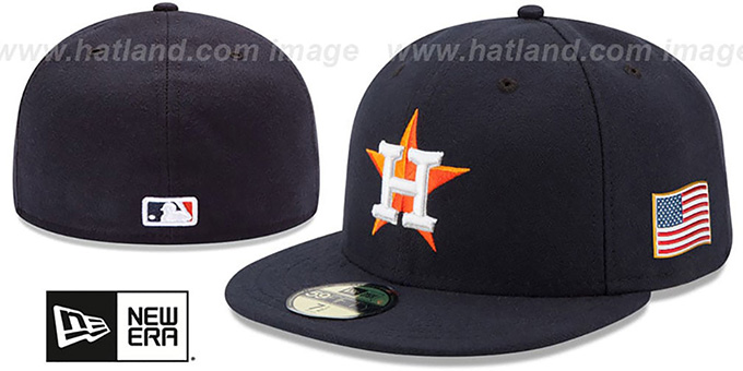 Astros '2015 STARS-N-STRIPES 911 HOME' Hat by New Era : pictured without stickers that these products are shipped with