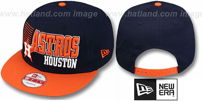 Astros '2T COOP BORDERLINE SNAPBACK' Navy-Orange Hat by New Era : pictured without stickers that these products are shipped with