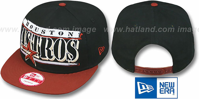 Astros '2T STILL BREAKIN SNAPBACK' Black-Brick Hat by New Era : pictured without stickers that these products are shipped with