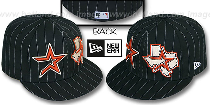Astros 'BIG-ONE DOUBLE WHAMMY' Black-White Fitted Hat : pictured without stickers that these products are shipped with