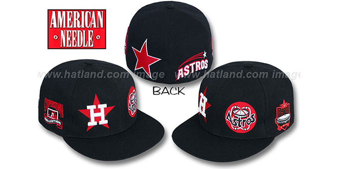 Astros 'BIGFOOT' Fitted Hat by American Needle - black : pictured without stickers that these products are shipped with