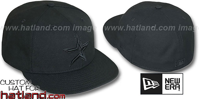 Astros 'BLACKOUT' Fitted Hat by New Era : pictured without stickers that these products are shipped with