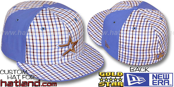 Astros 'BLUE BONNETT' Plaid-Light Blue Fitted Hat by New Era : pictured without stickers that these products are shipped with