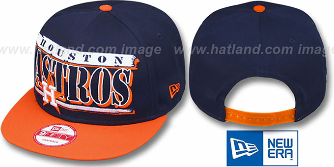 Astros COOP '2T STILL BREAKIN SNAPBACK' Navy-Orange Hat by New Era : pictured without stickers that these products are shipped with