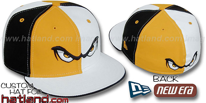 Storm 'PINWHEEL' Gold-White-Black Fitted Hat by New Era : pictured without stickers that these products are shipped with