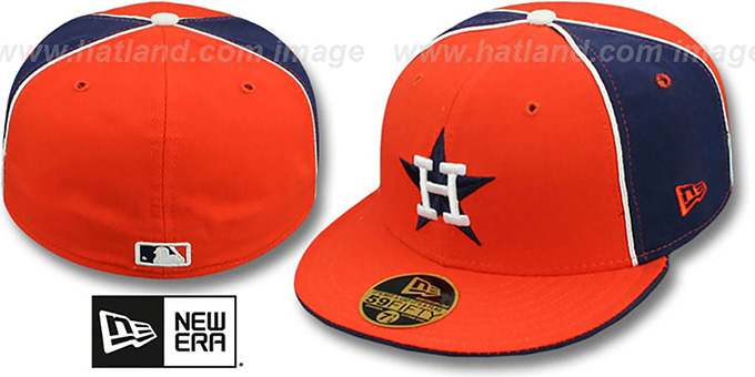 Astros COOP 'PINWHEEL' Orange-Navy Fitted Hat by New Era : pictured without stickers that these products are shipped with