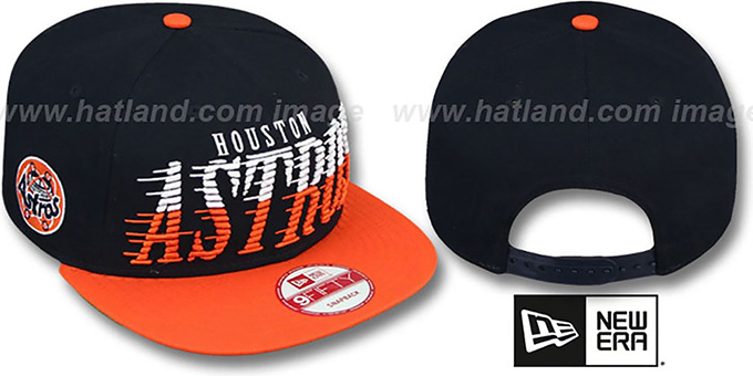 Astros COOP 'SAILTIP SNAPBACK' Navy-Orange Hat by New Era : pictured without stickers that these products are shipped with