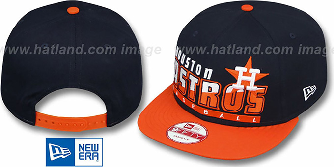 Astros COOP 'SLICE-N-DICE SNAPBACK' Navy-Orange Hat by New Era : pictured without stickers that these products are shipped with