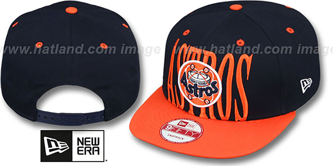 Astros COOP 'STEP-ABOVE SNAPBACK' Navy-Orange Hat by New Era : pictured without stickers that these products are shipped with