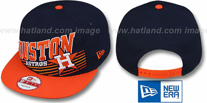 Astros COOP 'STILL ANGLIN SNAPBACK' Navy-Orange Hat by New Era : pictured without stickers that these products are shipped with