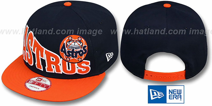 Astros COOP 'STOKED SNAPBACK' Navy-Orange Hat by New Era : pictured without stickers that these products are shipped with