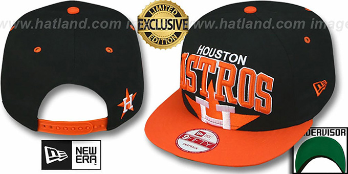 Astros COOP 'SUPER-LOGO ARCH SNAPBACK' Black-Orange Hat by New Era : pictured without stickers that these products are shipped with
