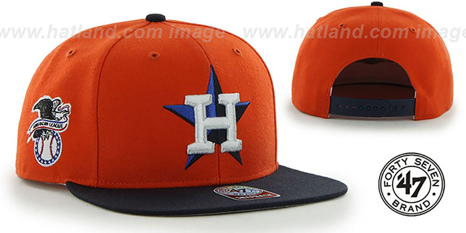Astros COOP 'SURE-SHOT SNAPBACK' Orange-Navy Hat by Twins 47 Brand : pictured without stickers that these products are shipped with