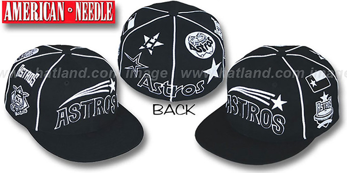 Astros 'COOPERSTOWN ALL-OVER' Black Fitted Hat by American Needle : pictured without stickers that these products are shipped with