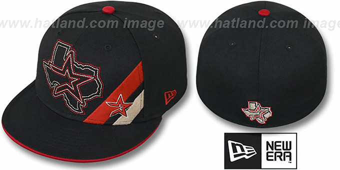 Astros 'CORNER SLICE' Black Fitted Hat by New Era : pictured without stickers that these products are shipped with