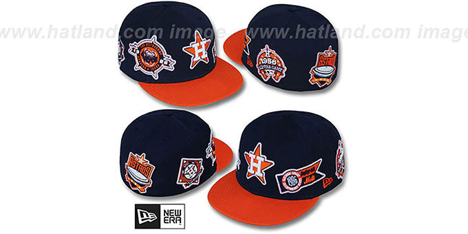 Astros 'DEEZ PATCHES' Navy-Orange Fitted Hat by New Era : pictured without stickers that these products are shipped with