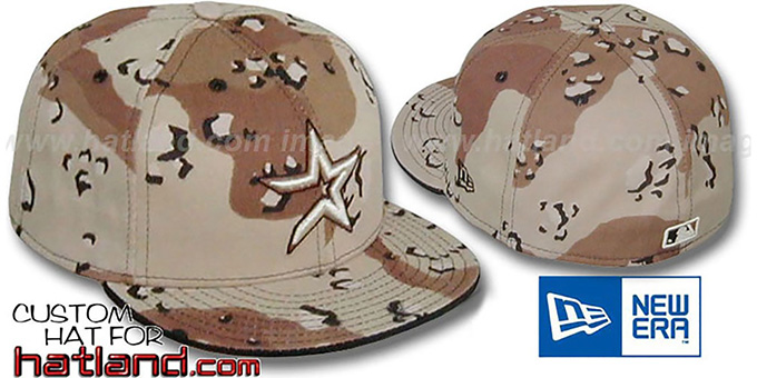 Astros 'DESERT STORM CAMO' Fitted Hat by New Era : pictured without stickers that these products are shipped with