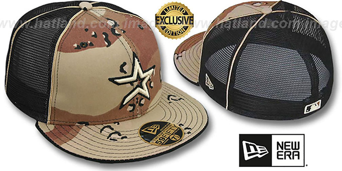 Astros 'DESERT STORM MESH-BACK' Fitted Hat by New Era : pictured without stickers that these products are shipped with
