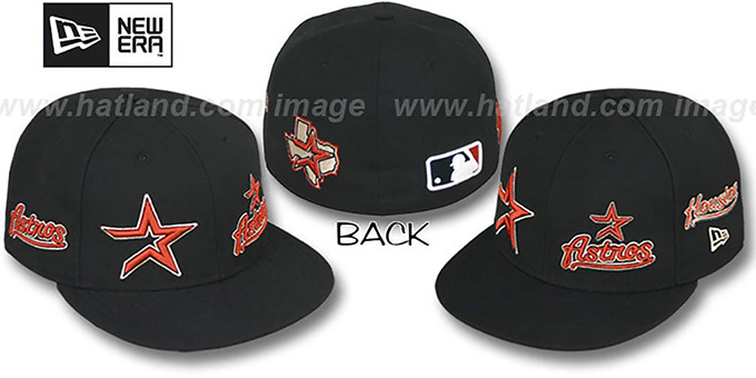 Astros 'EVOLUTION' Fitted Hat by New Era - black : pictured without stickers that these products are shipped with