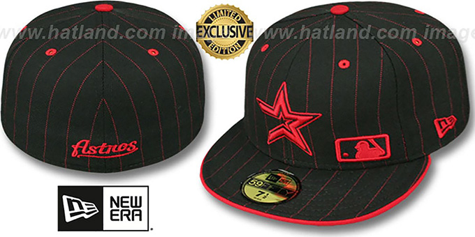 Astros 'FABULOUS' Black-Red Fitted Hat by New Era : pictured without stickers that these products are shipped with