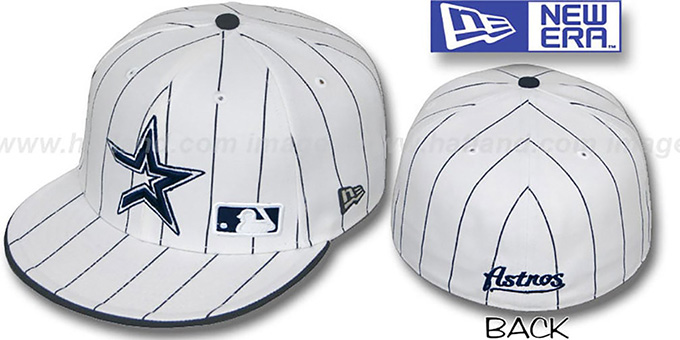 Astros 'FABULOUS' White-Navy Fitted Hat by New Era : pictured without stickers that these products are shipped with