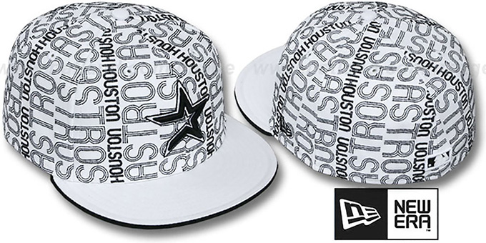 Astros 'GOOD TIMES ALL-OVER' White-Black Fitted Hat by New Era : pictured without stickers that these products are shipped with