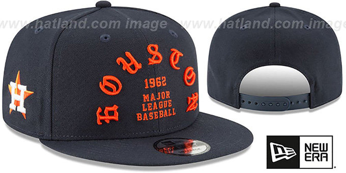 Astros 'GOTHIC-ARCH SNAPBACK' Navy Hat by New Era : pictured without stickers that these products are shipped with