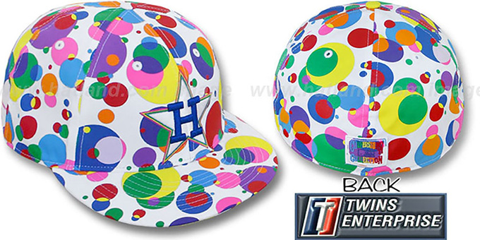 Astros 'GUMBALL' White-Multi Fitted Hat by Twins : pictured without stickers that these products are shipped with