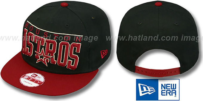 Astros 'LE-ARCH SNAPBACK' Black-Brick Hat by New Era : pictured without stickers that these products are shipped with