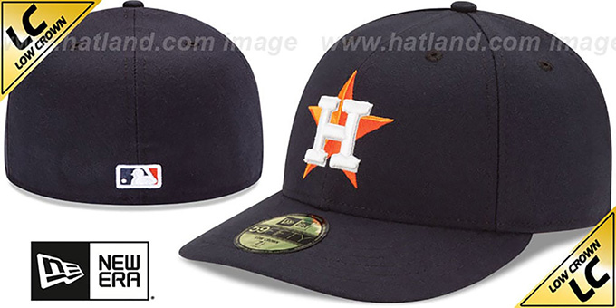 Astros 'LOW-CROWN' HOME Fitted Hat by New Era : pictured without stickers that these products are shipped with