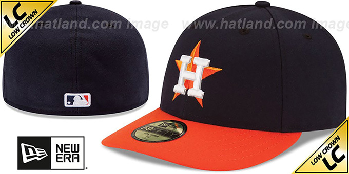 Astros 'LOW-CROWN' ROAD Fitted Hat by New Era : pictured without stickers that these products are shipped with