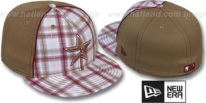 Astros 'MACDADDY PLAID' Wheat Fitted Hat by New Era : pictured without stickers that these products are shipped with