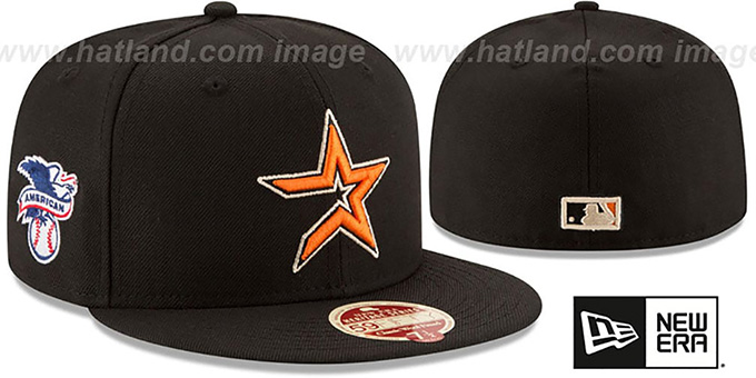 Astros 'MLB COOPERSTOWN WOOL-STANDARD' Black Fitted Hat by New Era : pictured without stickers that these products are shipped with