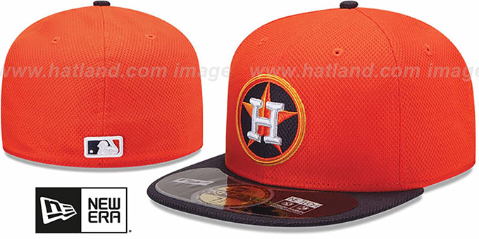 Astros 'MLB DIAMOND ERA' 59FIFTY Orange-Navy BP Hat by New Era : pictured without stickers that these products are shipped with